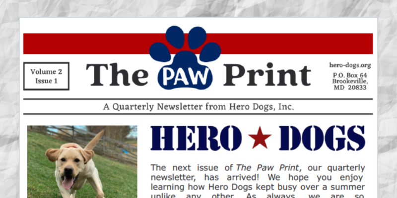 Top portion of the FY21 Q1 Hero Dogs Newsletter
